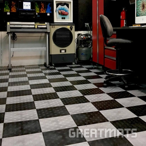 Greatmats garage tiles black and light gray in studio