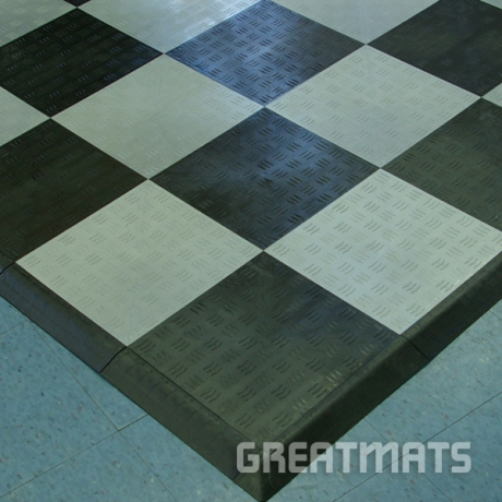 Greatmats checkerboard garage floor tiles black and grey